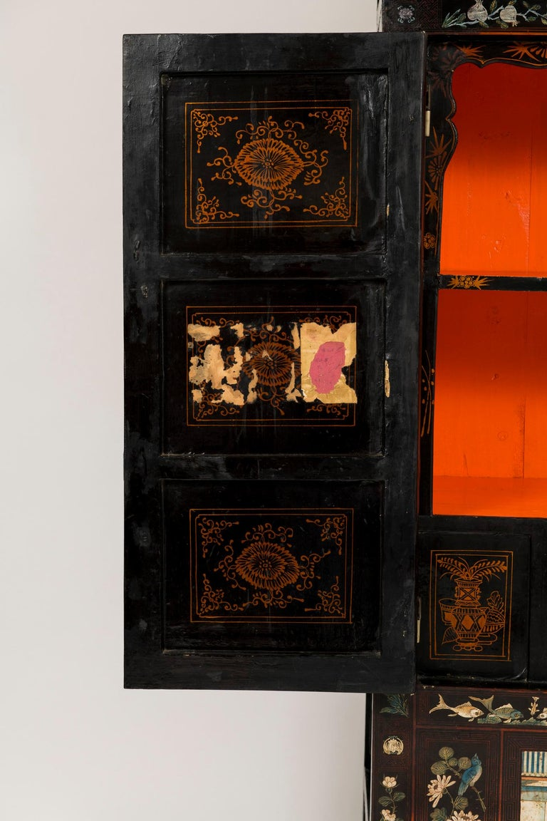 Pair of Early 20th Chinese Ming Style Painted Cabinets For Sale 6