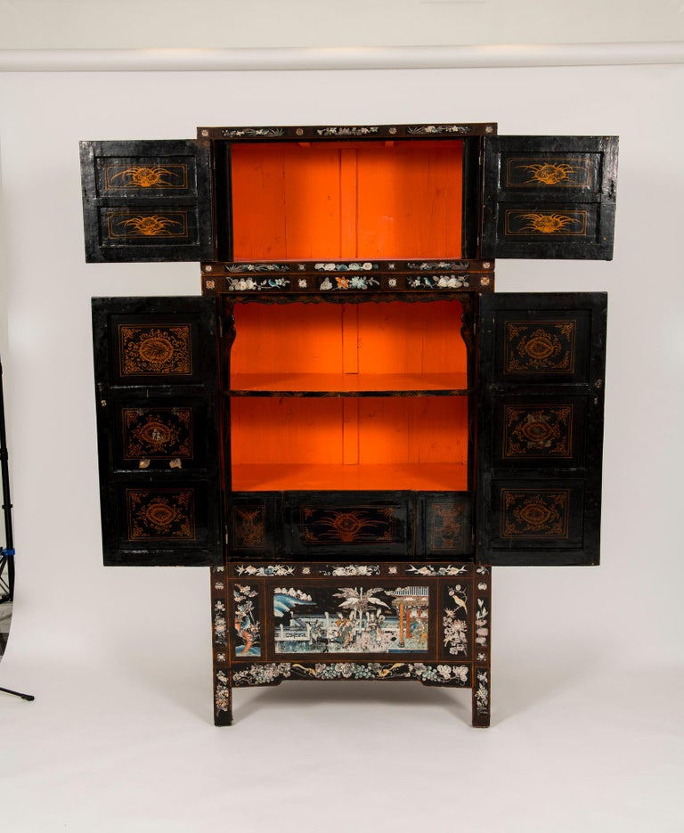 Pair of Early 20th Chinese Ming Style Painted Cabinets For Sale 7