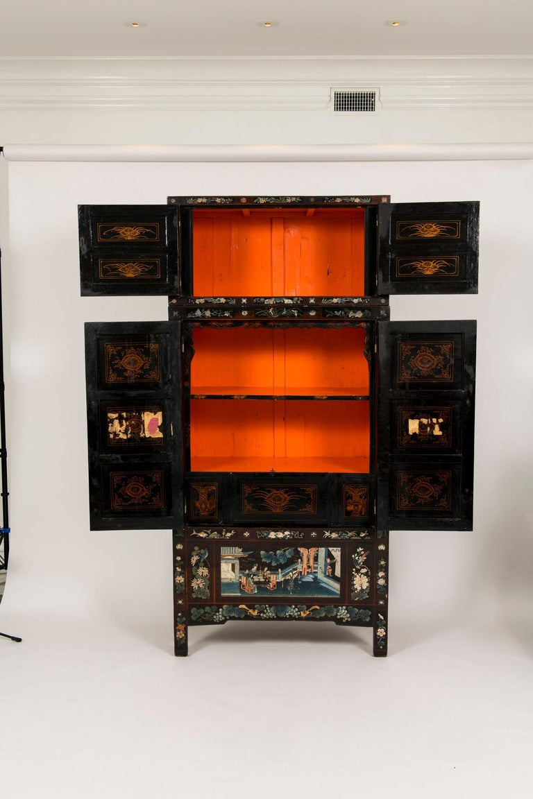 Pair of Early 20th Chinese Ming Style Painted Cabinets For Sale 8