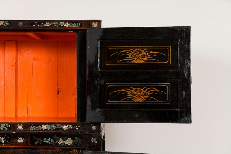Pair of Early 20th Chinese Ming Style Painted Cabinets For Sale 9