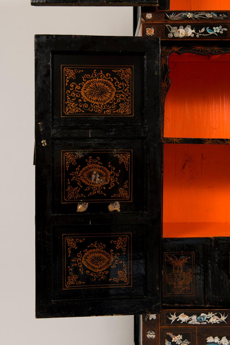 Pair of Early 20th Chinese Ming Style Painted Cabinets For Sale 10
