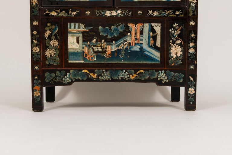 Pair of Early 20th Chinese Ming Style Painted Cabinets For Sale 11