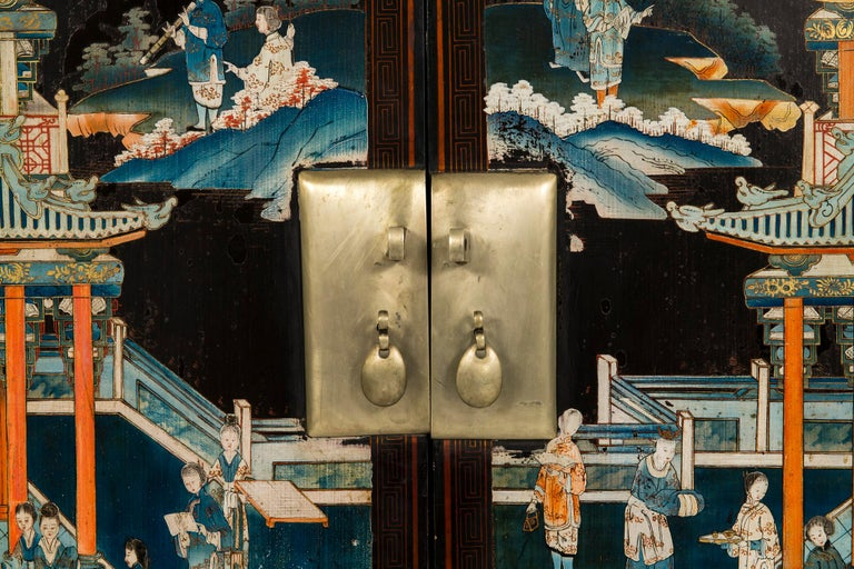 Pair of Early 20th Chinese Ming Style Painted Cabinets For Sale 12
