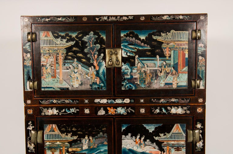 Qing Pair of Early 20th Chinese Ming Style Painted Cabinets For Sale