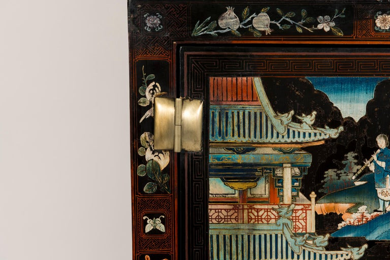 Lacquered Pair of Early 20th Chinese Ming Style Painted Cabinets For Sale