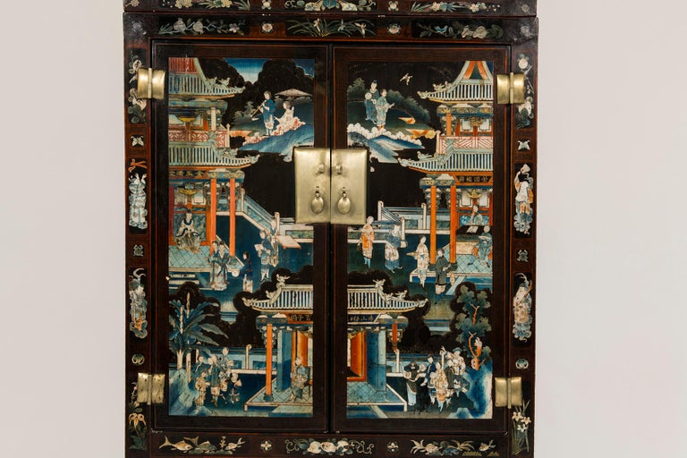 Pair of Early 20th Chinese Ming Style Painted Cabinets In Good Condition For Sale In Houston, TX
