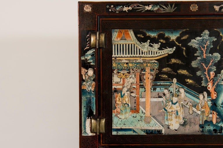Pair of Early 20th Chinese Ming Style Painted Cabinets For Sale 1