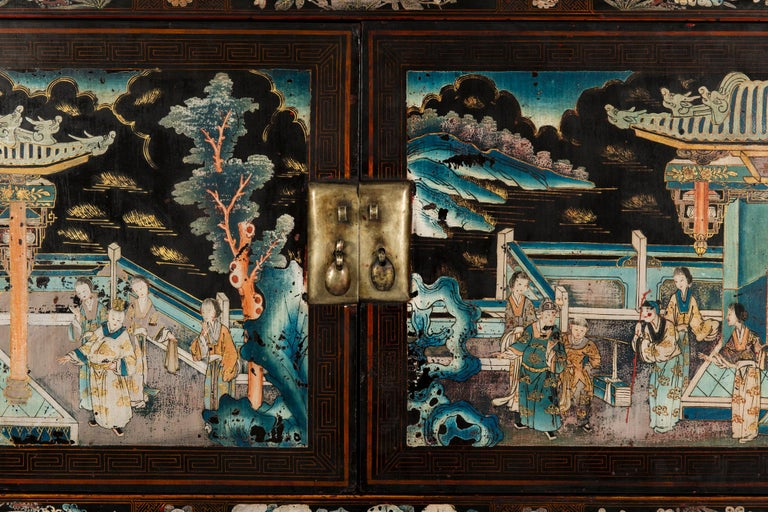 Pair of Early 20th Chinese Ming Style Painted Cabinets For Sale 2