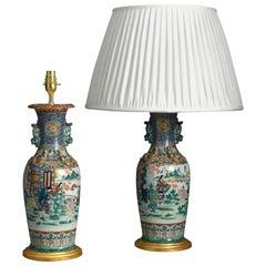 Pair of 19th Century Kutani Porcelain Vase Lamps