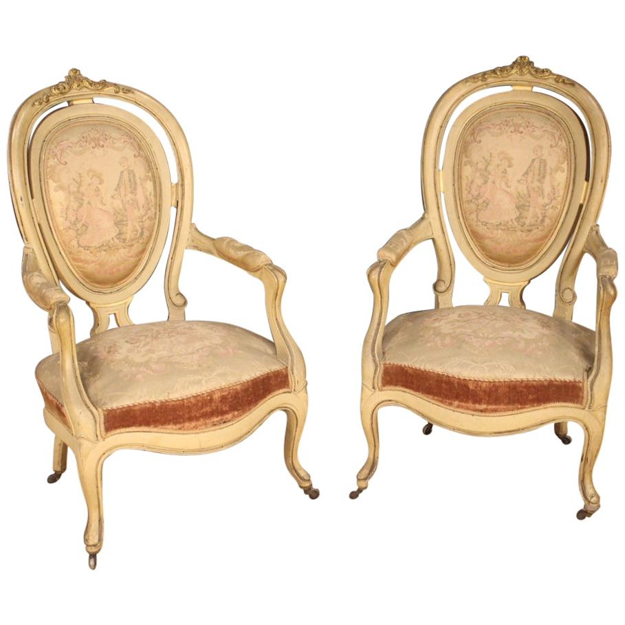 Pair of 19th Century Lacquered and Giltwood French Louis Philippe Armchairs