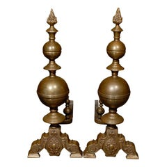Pair of 19th Century Large Brass Andirons with Flame Finials