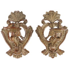 Pair of 19th Century Large Italian Carved Wood Candle Sconces