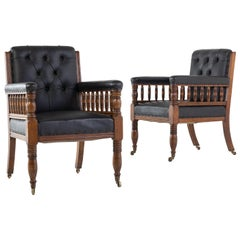 Pair of 19th Century Large Scale Oak Armchairs