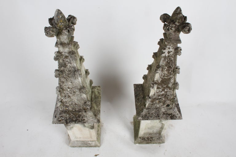 Pair of 19th Century Limestone Gothic Steeples Architectural Salvage, Garden For Sale 5