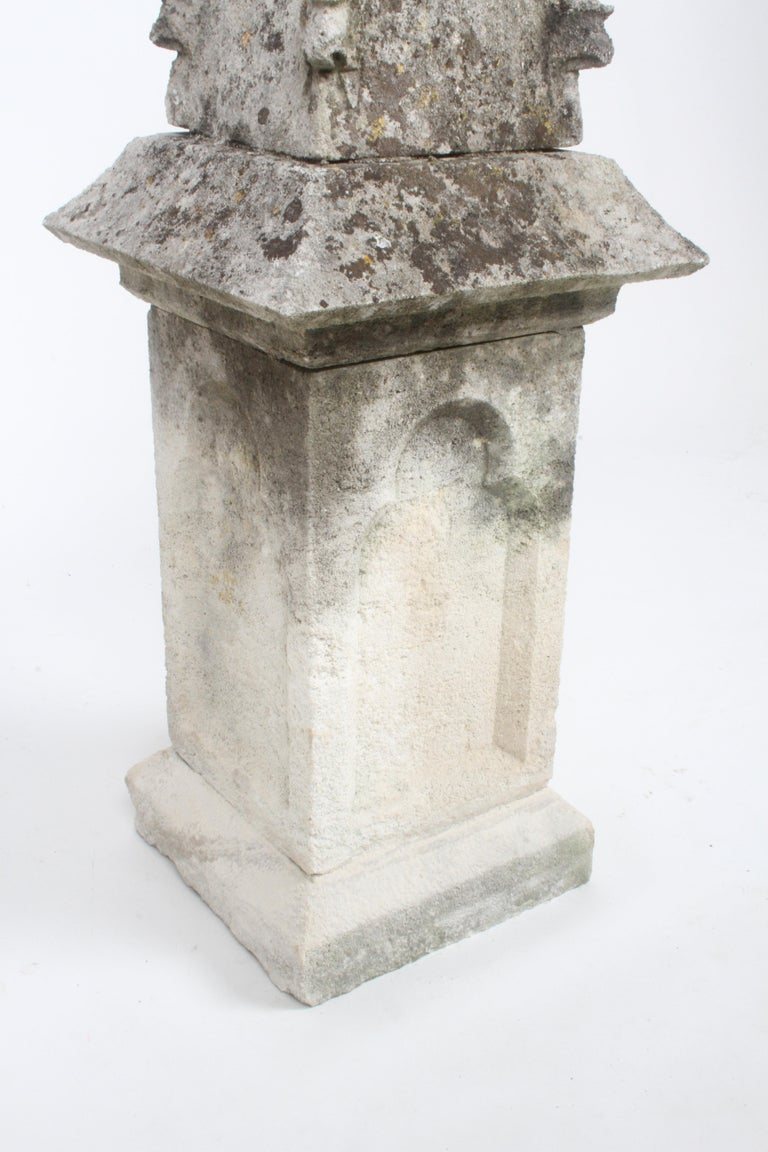 Pair of 19th Century Limestone Gothic Steeples Architectural Salvage, Garden For Sale 11