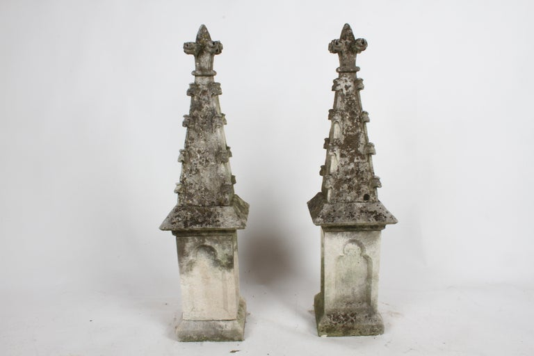Pair of 19th Century Limestone Gothic Steeples Architectural Salvage, Garden For Sale 12