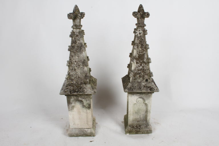 Gothic Revival Pair of 19th Century Limestone Gothic Steeples Architectural Salvage, Garden For Sale