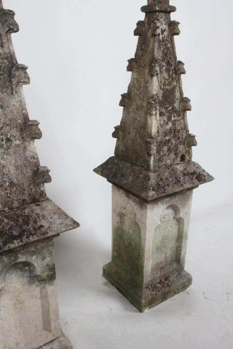 Hand-Carved Pair of 19th Century Limestone Gothic Steeples Architectural Salvage, Garden For Sale