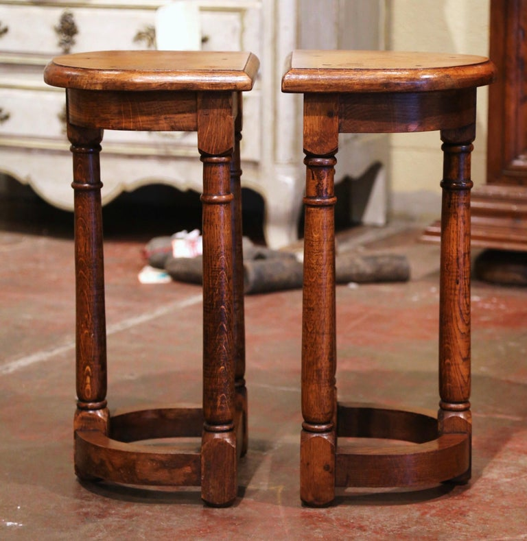 French Pair of 19th Century Louis XIII Oak Three-Leg Demilune Side Tables For Sale