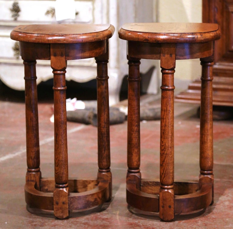 Hand-Carved Pair of 19th Century Louis XIII Oak Three-Leg Demilune Side Tables For Sale