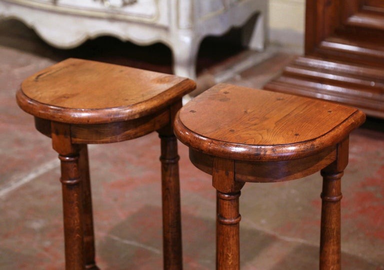 Pair of 19th Century Louis XIII Oak Three-Leg Demilune Side Tables In Excellent Condition For Sale In Dallas, TX