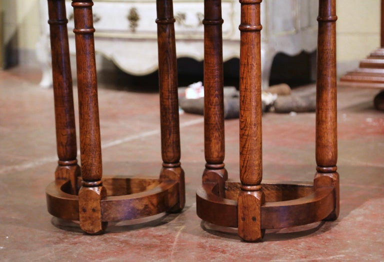 Pair of 19th Century Louis XIII Oak Three-Leg Demilune Side Tables For Sale 1