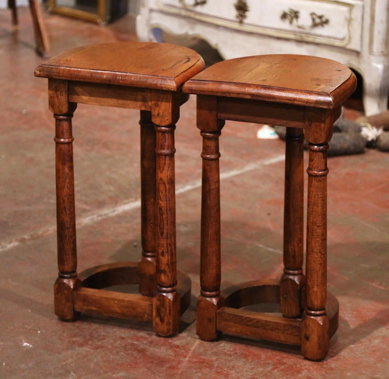 Pair of 19th Century Louis XIII Oak Three-Leg Demilune Side Tables For Sale 4