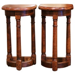 Pair of 19th Century Louis XIII Oak Three-Leg Demilune Side Tables