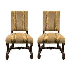 Pair of 19th Century Louis XIII Os de Mouton Upholstered Side Chairs