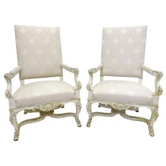 Pair of 19th Century Louis XIV Carved Painted Armchairs with Fleur-de-Lis Fabric