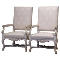 Pair of 19th Century Louis XIV Carved Painted Armchairs with Fleur-de-Lys Fabric