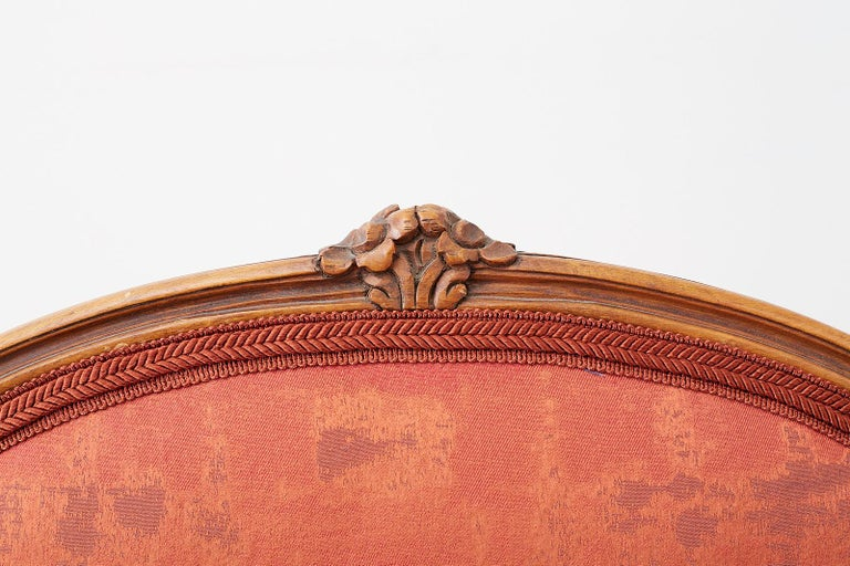 Pair of 19th Century Louis XV Carved Walnut Armchairs For Sale 4