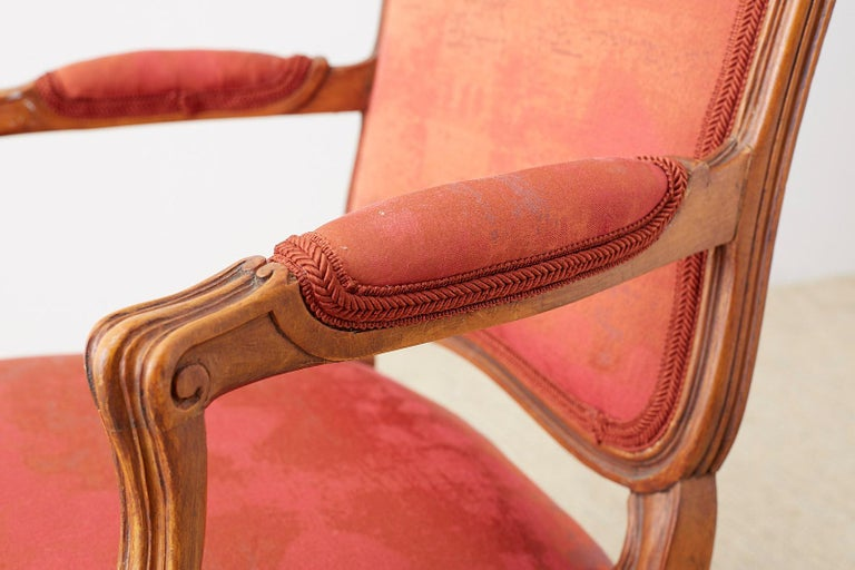 Pair of 19th Century Louis XV Carved Walnut Armchairs For Sale 8
