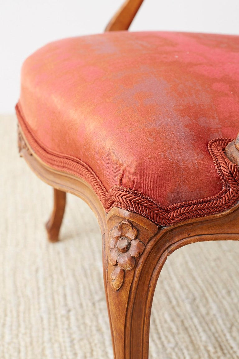 Pair of 19th Century Louis XV Carved Walnut Armchairs For Sale 9