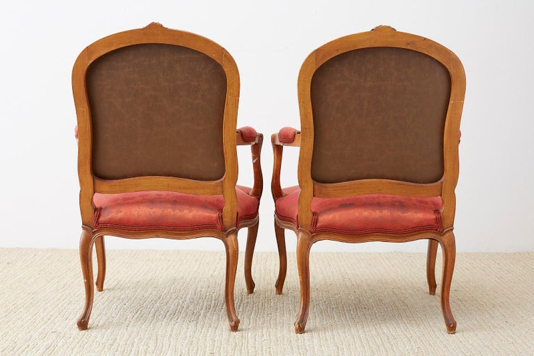 Pair of 19th Century Louis XV Carved Walnut Armchairs For Sale 10