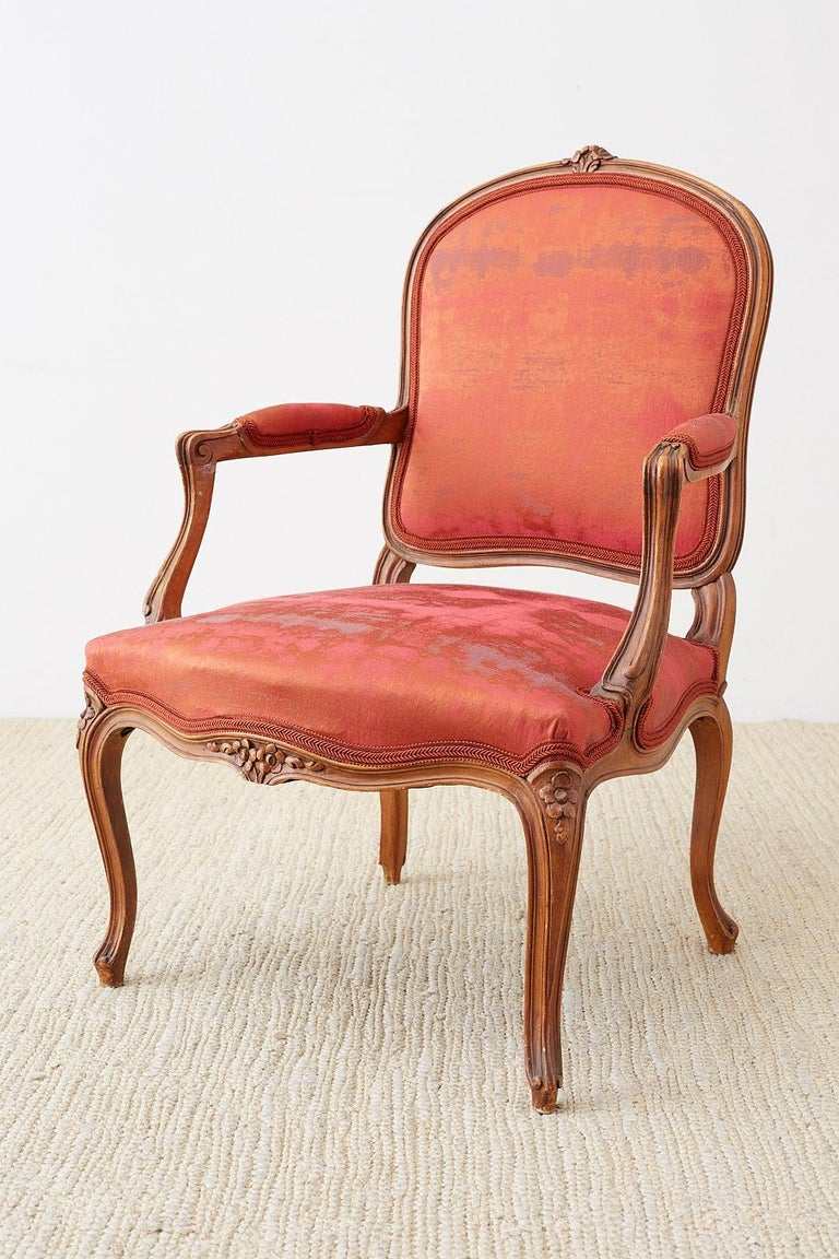 Pair of 19th Century Louis XV Carved Walnut Armchairs In Good Condition For Sale In Rio Vista, CA