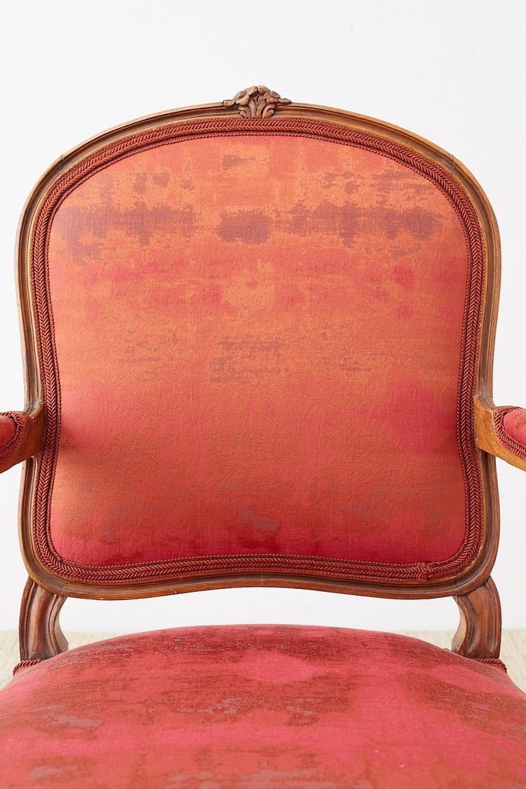Fabric Pair of 19th Century Louis XV Carved Walnut Armchairs For Sale
