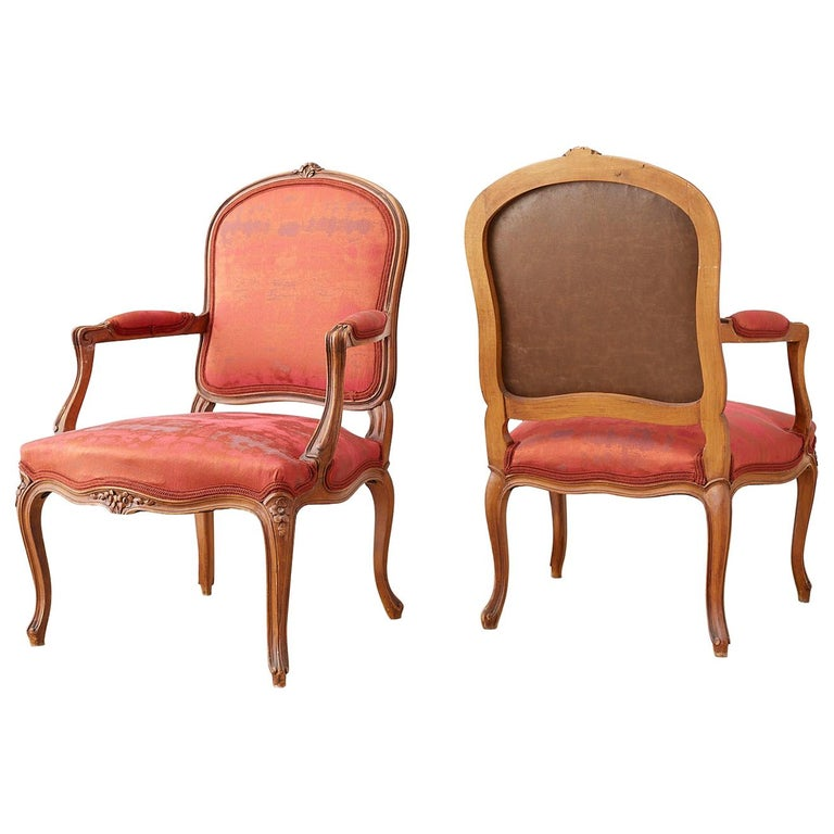 Pair of 19th Century Louis XV Carved Walnut Armchairs For Sale