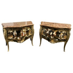 Pair of 19th Century Louis XV Japanned Commodes