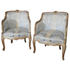 Pair of 19th Century Louis XV Painted and Parcel Gilt Bergeres