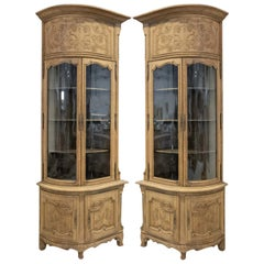 Pair of 19th Century Louis XV Style Bleached Oak Chateau Corner Cabinets