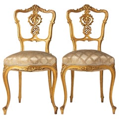 Pair of 19th Century Louis XV Style French Gold-Leaf Gilded Chairs
