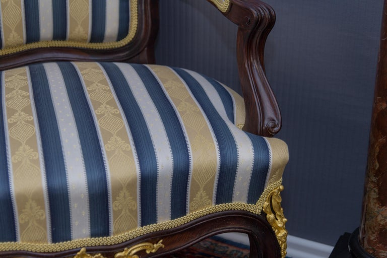 Pair of 19th Century Louis XV Style Gilt Bronze Mounted Armchairs For Sale 8