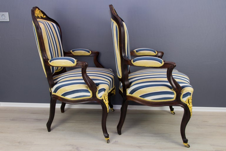Pair of 19th Century Louis XV Style Gilt Bronze Mounted Armchairs For Sale 10