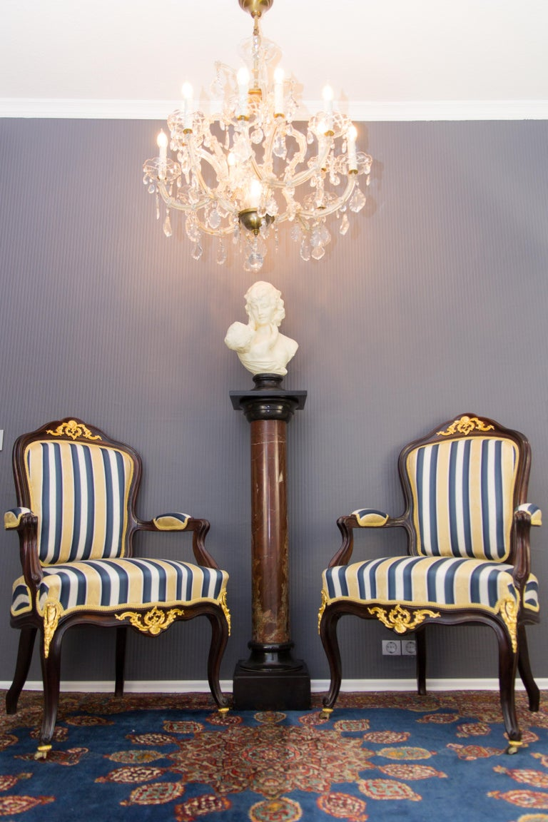 Pair of 19th Century Louis XV Style Gilt Bronze Mounted Armchairs For Sale 16