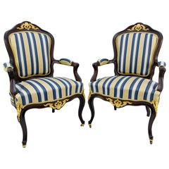 Pair of 19th Century Louis XV Style Gilt Bronze Mounted Armchairs