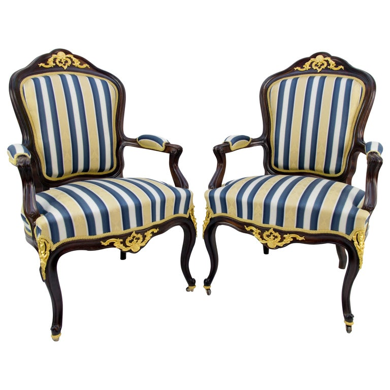 Pair of 19th Century Louis XV Style Gilt Bronze Mounted Armchairs For Sale