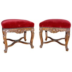 Pair of 19th Century Louis XV Style Square Stools