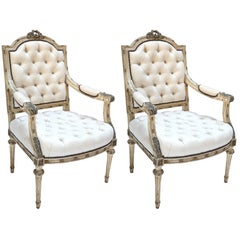 Pair of 19th Century Louis XVI Armchairs in Beige Linen
