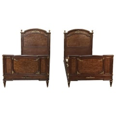 Pair of 19th Century Louis XVI Bronze Mounted Mahogany Beds by Schmit of Paris